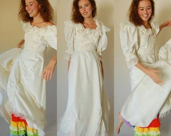 SALE 25% off sundays Boho Wedding Dress Vintage 70s Ivory Lace and Ruffles Boho Prairie Wedding Dress (s)