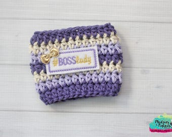 Girl Boss Coffee Cozy { Boss Lady } office decor, purple lavender cream gold, drink, knit mug sweater, shop owner, coffee lover gift