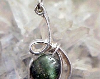 Tourmaline Sterling Silver Wire Art Pendant 009