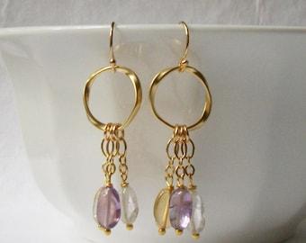 Flourite Tassel Dangle Earrings, Mulit-colored Dangle Earrings