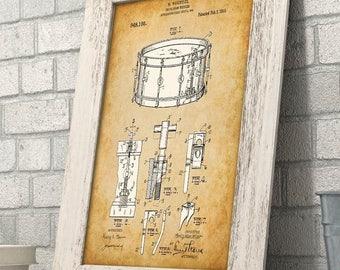 Waechtler Snare Drum Patent - 11x14 Unframed Patent Print - Great Gift for Drummers