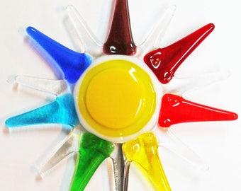 Glassworks Northwest - Rainbow Color Burst Plant Stake - Fused Glass Garden Art