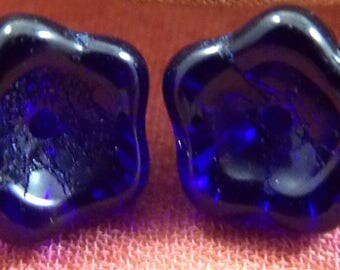 8x6mm, New Czech, Glass, Dark Blue, Bell Flowers 25