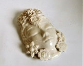 Small Goddess Face With Flowers Ornament Ceramic Porcelain