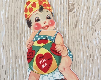 Fun Vintage 1940s Valentine Girl with Beach Ball, Large Oversized Card with twisting part held together with rivet