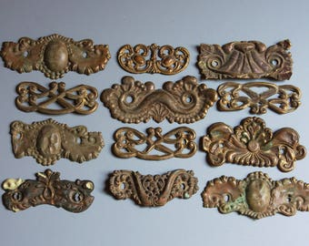 Vintage Ornate Furniture Hardware Salvaged Drawer Pulls (12) Thin Metal Distressed Patina- Altered Art Supply Dresser Hardware