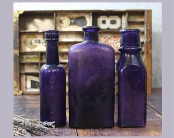 Vintage PURPLE BOTTLE Lot - Amethyst Antique Bottles- Durkee Challence Decorative Unusual Shapes- Farmhouse Rustic Flower Vases- R23