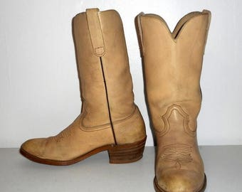 Mens Cowboy Boots Vintage Light Tan Western Country Size 10 10.5 Distressed Shoes