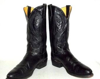 Mens 9.5 D Cowboy Boots Black Ben Miller Western Biker Rockabilly Vintage Shoes