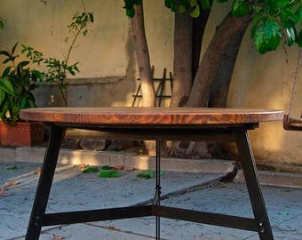 SUMMER SALE Round metal and wood dining table