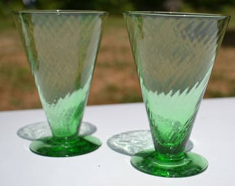 Pair of Green Depression Glass Tumblers