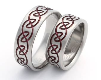 Irish Celtic Titanium Wedding Band Set Red - His and Hers - Matching Set - Red Infinity Rings stck13