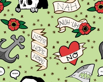 Nah! Fabric -- Funny Tattoo Flash On Mint By Ashley Mason - Vintage Tattoo Sailor Cotton Fabric By The Yard With Spoonflower