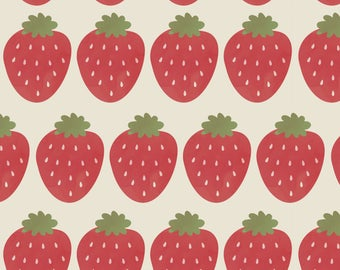 Summer Strawberry Fabric - Watercolor Strawberries By Nikkilately - Watercolor Summer Strawberry Cotton Fabric By The Yard With Spoonflower