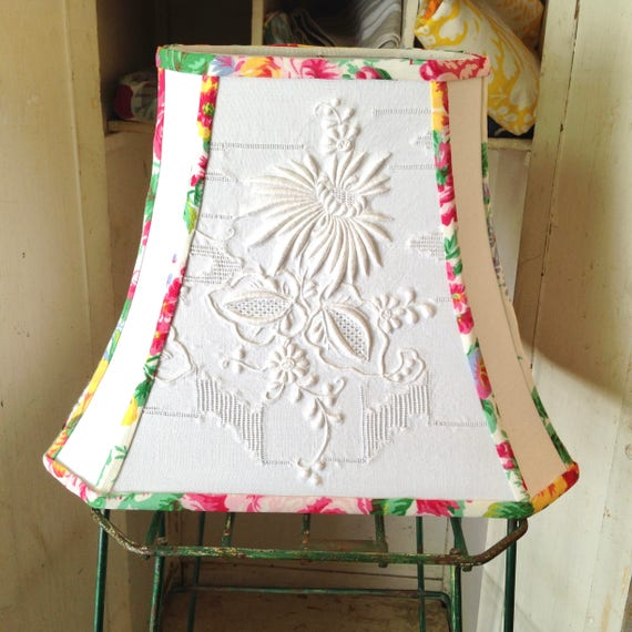 White flower lamp shade embroidered lampshade rectangle cut like this item aloadofball Choice Image