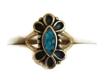 SALE Southwest Turquoise Ring with Black Enamel Vintage Size 6 & Signed COP