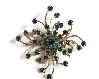 SALE Atomic Rhinestone Snowflake Brooch Vintage Spiral Emerald Green