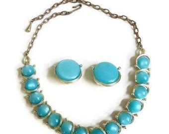 SALE Blue Moonglow Necklace & Earrings Set, Vintage Mid Century 1950s
