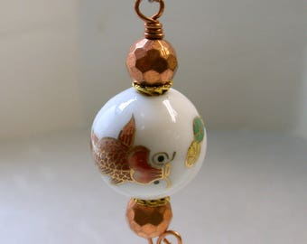 Vintage CHINESE KOI FISH Bead Fan Light Pull White Porcelain Orange Fish, Vintage Faceted Copper Beads-Asian Home Decor