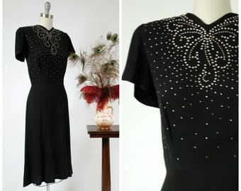 1940s Vintage Dress - Sensational Black Rayon 40s Dress with Elaborate Rhinestone Studs, Short Sleeves and a Gored Skirt
