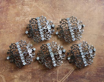 Ornate Vintage Findings, Rhinestone Findings, Antique Buckle Fragments, Jewelry Supplies, Antique Assemblage Supplies, Boho Jewelry Parts