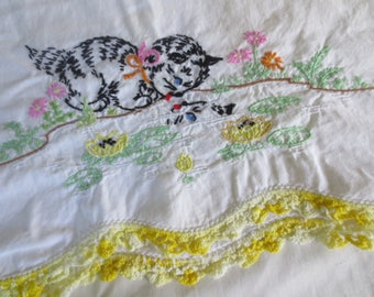 Vintage Pair Embroidered Pillowcases / Kittens Pond / Embroidered trim / Matching Pair / embroidered pair/ Standard Size Pillowcase