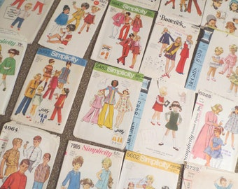 Vintage Sewing Patterns Lot of 20 Childrens Patterns 1960s 1970s