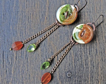 "Mop button earrings with carnelian and peridot gemstones by fancifuldevices- ""Gratulation"""