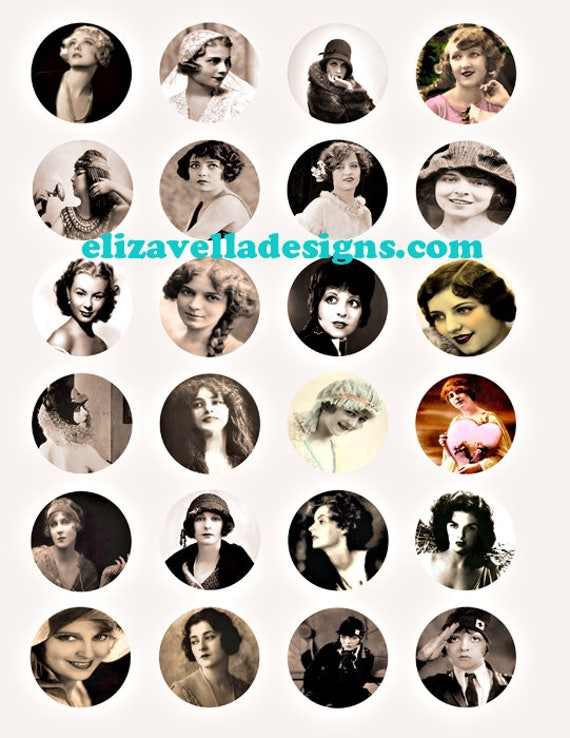"VINTAGE old black and white photographs women 1800s to 1950s clipart digital download collage sheet 1.5"" CIRCLES image graphics printable"