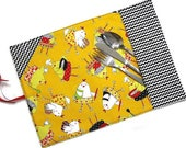 RESERVED LISTING for Christina - Custom child lunch sets, roll up placemats, reusable cotton napkins, kid school daycare picnic gift set