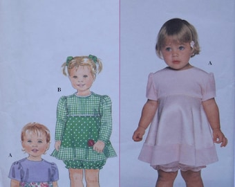 Vintage 1990s Sewing Pattern Simplicity 7890 Babie's Dress and Bloomers Baby Girl Dress Diaper Cover Newborn to 18 Months Partially Cut
