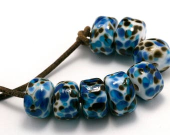 Blue Jeans Drops Handmade Glass Lampwork Beads (8 Count) by Pink Beach Studios (2060)