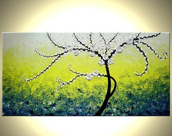 ORIGINAL XLarge 4ft x 2ft gallery wrap canvas contemporary impasto tree painting modern abstract floral painting by Dan Lafferty Free Ship