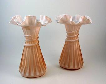 Vintage Fenton Glass Wheat Vase Pink Overlay Set of Two Pink with White Milk Glass Interior 1980s