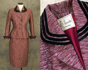 vintage 50s Lilli Ann Suit -  1950s Maroon Red Wool Skirt Suit - Designer Peplum Blazer and Pencil Skirt Sz S