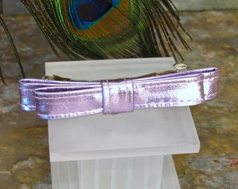 Purple Bow Barrette - Shiny Metallic French Barrette - Summer Hair Accessory - Lilac Purple Hair Bow Clip
