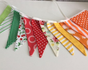 Summer Bunting / Flag / Garland - Bright Summer Shades - 2.5m or 98in, bright colours for summer sun
