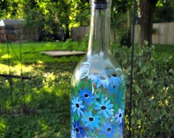Hand Painted Dish Soap Dispenser, Clear Wine Bottle, Shades of Blue Flowers, Wine Bottle Soap Bottle, Oil and Vinegar Bottle