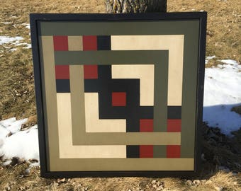 PRiMiTiVe Hand-Painted Barn Quilt - 3' x 3' Carpenter's Square Pattern