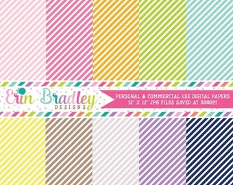50% OFF SALE Digital Paper Pack Personal and Commercial Use Colorful Diagonal Stripes Instant Download