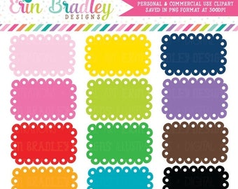 50% OFF SALE Scalloped Boxes Clipart Graphics - Commercial Use Label Clip Art
