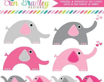 80% OFF SALE Commercial Use Elephants Clipart, Girls Elephant Pink & Gray Clip Art Graphics, Instant Download Clip Art