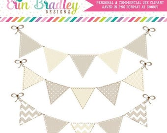 80% OFF SALE Instant Download Bunting Clipart Graphics Personal & Commercial Use Beige and Cream Digital Clip Art