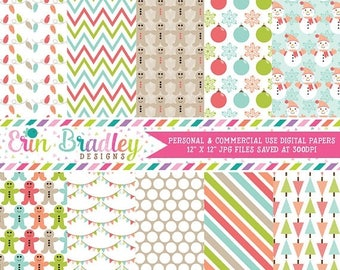 80% OFF SALE Holiday Digital Papers Personal and Commercial Use Christmas Cheer