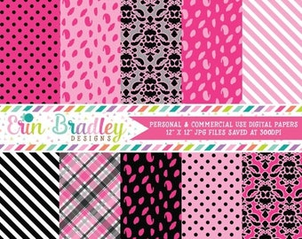 80% OFF SALE Digital Paper Pack Hot Pink and Black Digital Papers with Polka Dot Damask Striped & Plaid Patterns