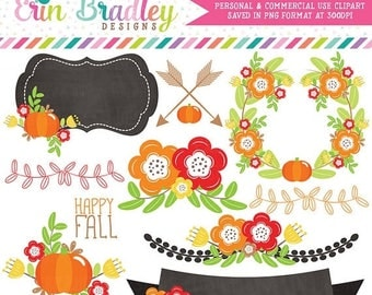80% OFF SALE Floral Elements Fall Clipart Laurel Wreath Flowers Arrows Pumpkins Labels Commercial Use Clip Art Digital Graphics