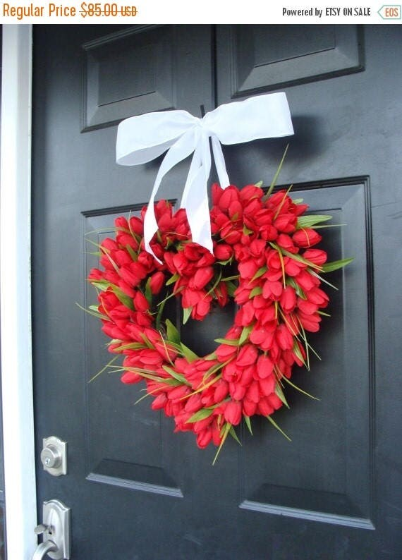 SUMMER WREATH SALE Red Tulip Heart Wreath  Valentine's Day Wreath  I Love You  Decor  Valentines Day Gift  Wedding Gift Wedding Decor Spring