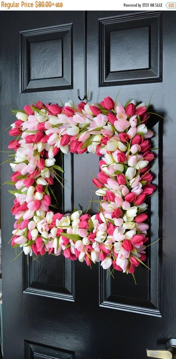 SUMMER WREATH SALE Pink Tulip Spring Wreath- Valentine's Day Square Wreath- Tulip Wreath- 20 inch shown, custom colors- The Original Tulip W