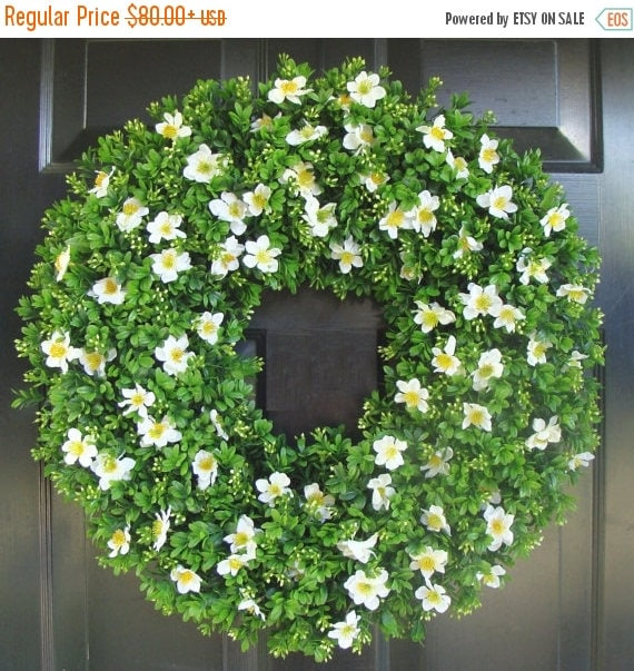 SUMMER WREATH SALE Boxwood Spring Wreath- Front Door Decor- Outdoor Boxwood Summer Wreath- Door Decor- Artificial Boxwood Wreath