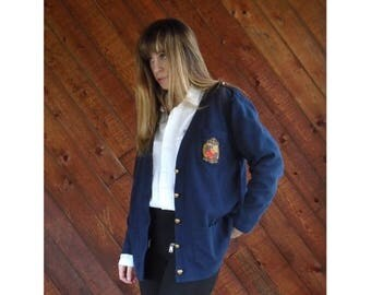 20% off SUMMER SALE. . . Navy V-Neck Cardigan with Crest Embroidery - Vintage 90s - S/M
